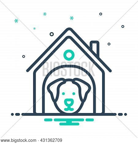 Mix Icon For Dog-in-kennel Dog Kennel Adorable Animal Cheerful Domestic Accessory Dog-home