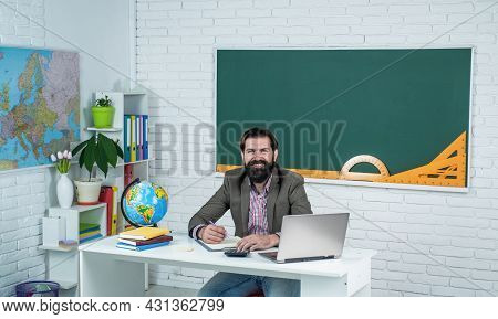 Explore Something New. Pass The Exam. Learning The Subject. Happy Man With Beard Work On Computer. S