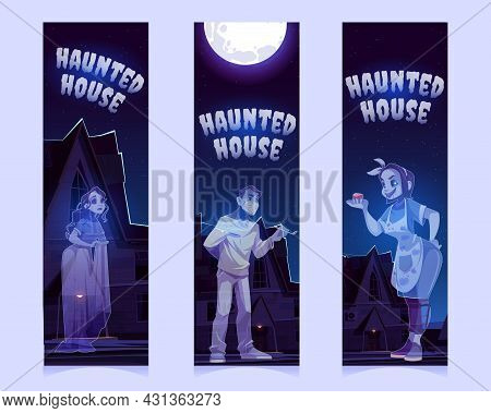 Haunted House With Old House With Ghosts At Night. Vector Vertical Banners Of Halloween Party Or Sca