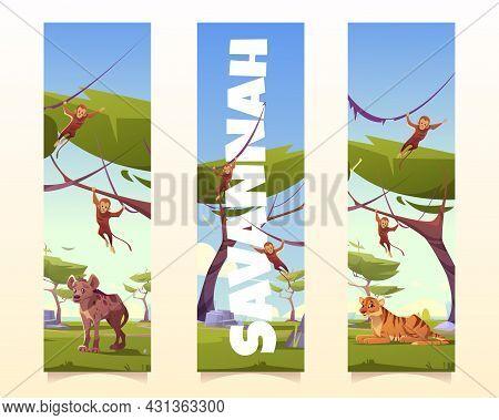 Savannah Animals Cartoon Vertical Banners Or Bookmarks, Wild Tiger, Monkeys And Hyena In Nature. Jun