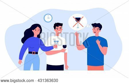 Friends Offering Alcohol To Non-drinking Guy. Flat Vector Illustration. People With Glasses Resting