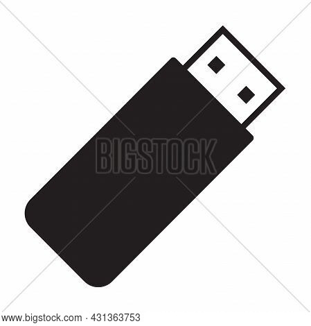 Usb Flash Drive Cable Icon Vector. Connector Memory Logo Sign For Graphic Design, Logo, Website, Soc