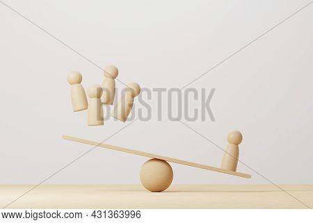Wooden Human Compared Balancing On Wood Scale Seesaw. 3d Illustration