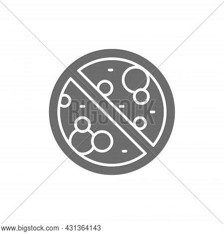 Forbidden Sign With Microbes, Antibacterial, Antivirus, No Bacteria Grey Icon.