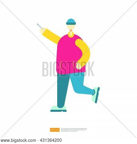 Man Or Boy Character Standup With Explain Gesture For Business Or Education Illustration