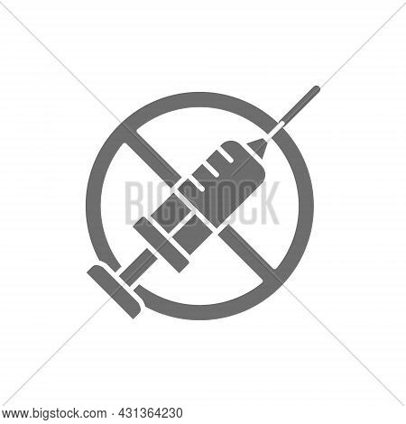 Forbidden Sign With Syringe, No Vaccination, No Injection Grey Icon.