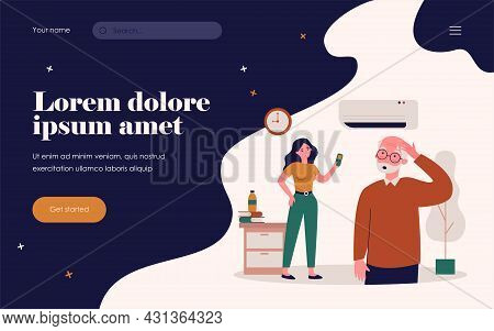 Young Woman Turning On Air Conditioner. Senior Man Feeling Hot, Sweating With Heat Flat Vector Illus