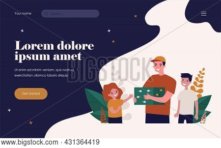 Smiling Man Holding Box With Fishes And Surrounded Kids. Girl, Boy, Aquarium Flat Vector Illustratio