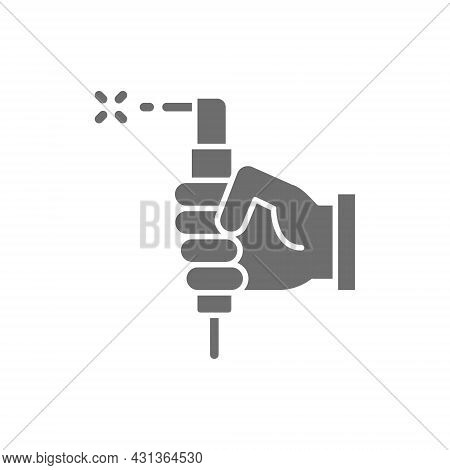 Hand With Welding Torch, Welder Tools Grey Icon.
