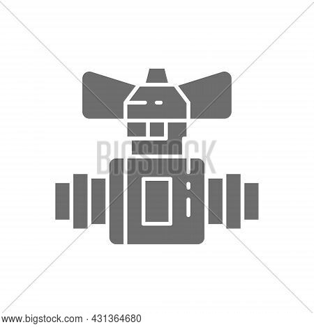 Stopcock, Stop Water Leak, Water Tap Grey Icon. Isolated On White Background