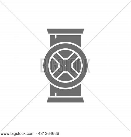 Pipe Connector, Water Valve Grey Icon. Isolated On White Background