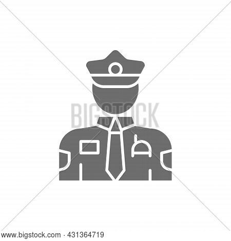 Cop, Police, Officer Grey Icon. Isolated On White Background