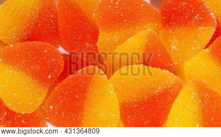 Background Of Many Marmalade Hearts. Heart-shaped Candy.