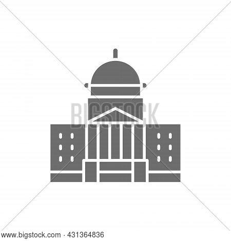 White House, Courthouse Grey Icon. Isolated On White Background