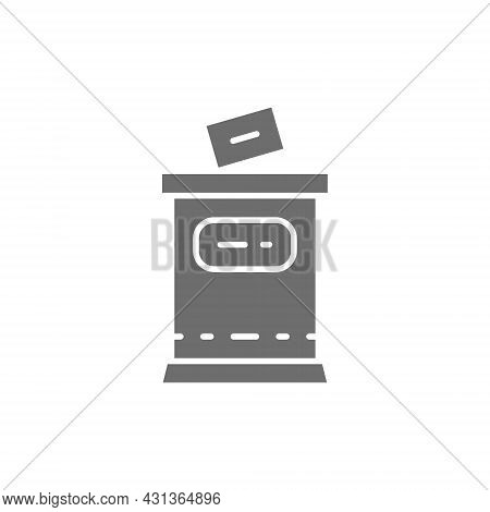 Election, Put Voting Paper In Ballot Box Grey Icon.