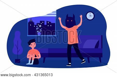 Guy In Mask Of Monster Scaring Little Boy. Flat Vector Illustration. Brother Or Friend In Scary Mask