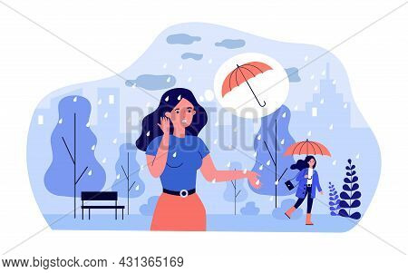 Cartoon Woman Standing In Rain Without Umbrella. Girls With And Without Umbrella In Park In Rainy We