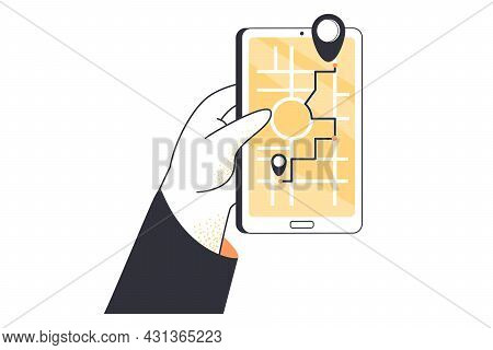 Cartoon Hand Holding Smartphone With Gps Navigator On Screen. Flat Vector Illustration. Electronic R
