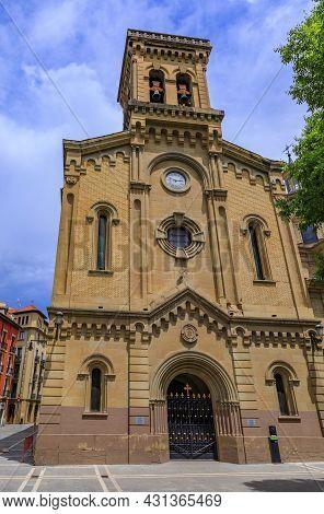 Church Iglesia De San Lorenzo In Pamplona, Spain With A Chapel Holding The Statue Of San Fermin Co-p