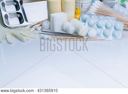 Wound Care Dressing Set. Forceps, Cotton Stick, Conform Bandage, Elastic Cohesive Retention Bandage,