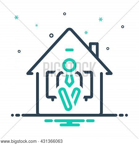 Mix Icon For Settle Transmigrate Reside Stay-in Live-in Inhabit House Home People