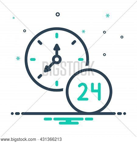 Mix Icon For Hour Twenty-four-hours Clock Time Day Service Helpline Sign