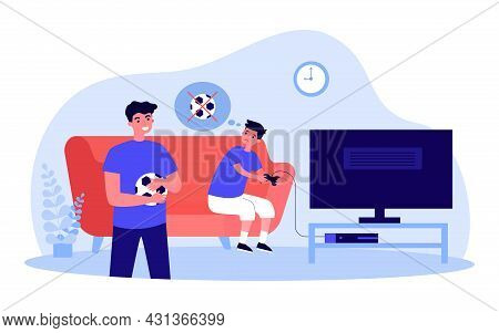 Boy Playing Video Games Instead Of Playing Football With Brother. Kid With Controller, Man Holding B