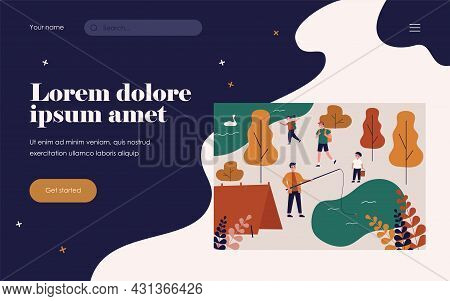 Happy Guys Camping On Nature With Kids. Lake, Tent, Forest Flat Vector Illustration. Adventure And S