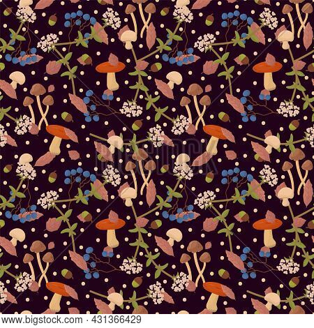 Autumn Pattern With Mushrooms And Berries. Seasonal Background Berries, Forest Mushrooms, Flowers, L
