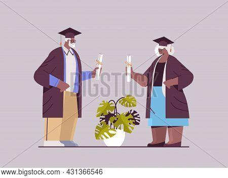 Senior Man Woman Graduated Students Standing Together Aged Graduates Celebrating Academic Diploma De