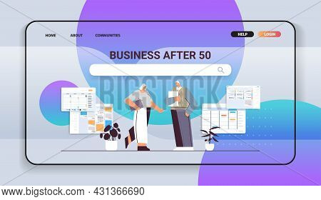 Senior Businesspeople Discussing During Meeting Business Man Woman Couple In Formal Wear Working Tog