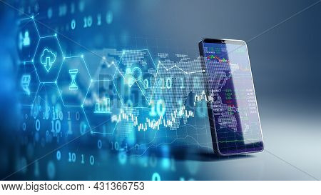 Financial Graph And Technology Element On Mobile Phone 3d Rendering  Represent Blockchain  And  Mobi