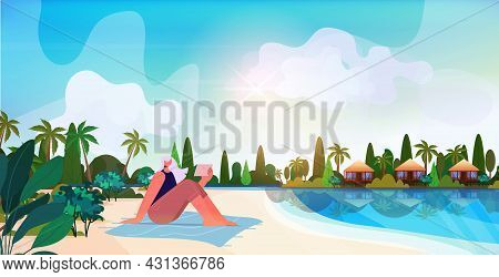 Senior Woman Relaxing On Tropical Beach Aged Lady Using Tablet Pc Summer Vacation Active Old Age Con