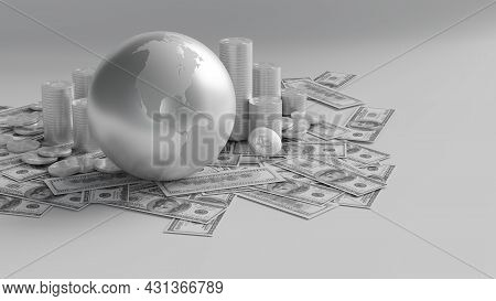Stacks Of Bitcoins  Crypto Currency And Money With Earth 3dillustration Represent Global Economy Dis