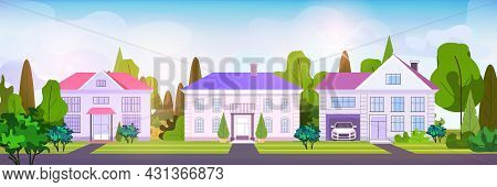 Empty No People Street Town Houses Cottages Country Real Estate Concept Residential Architecture Hom