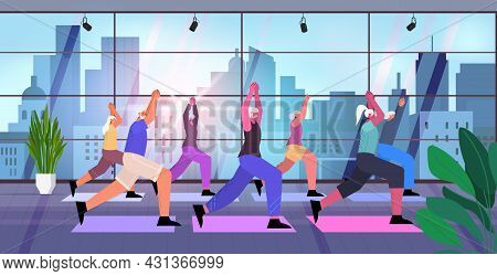 Senior People Group Doing Squats Aged Men Women Training In Gym Aerobic Workout Healthy Lifestyle Ac