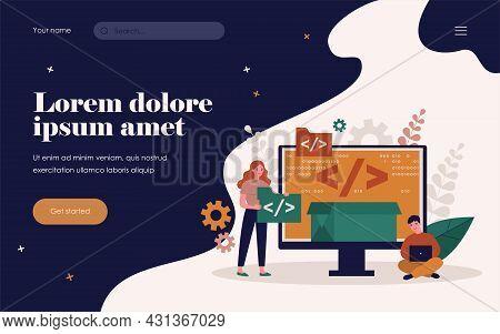 Tiny Programmers Programming Website For Internet Platform Flat Vector Illustration. Cartoon Develop