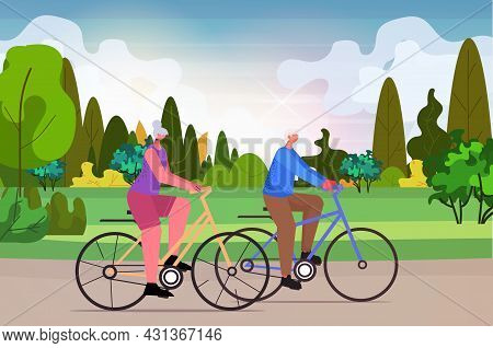 Senior Man Woman Cycling Outdoor Aged Couple Riding Bicycle Workout Healthy Lifestyle Active Old Age