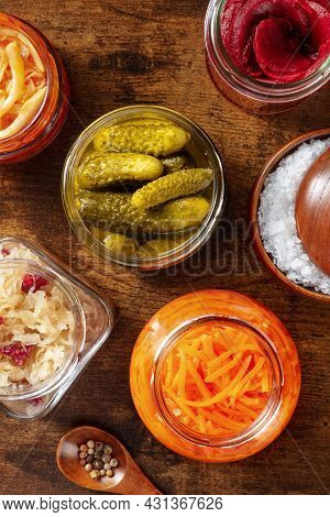 Probiotic Foods. Fermented Food. Canned Sauerkraut, Carrot, Pickles And Other Preserves In Glass Jar