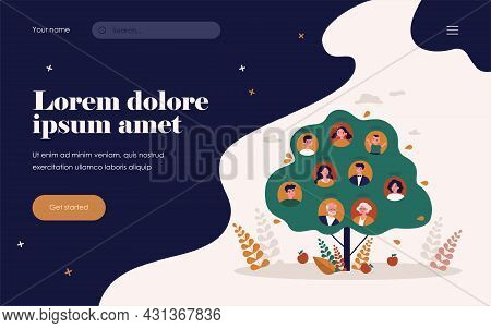 People Genealogical Heritage Isolated Flat Vector Illustration. Cartoon Abstract Relatives Connectio