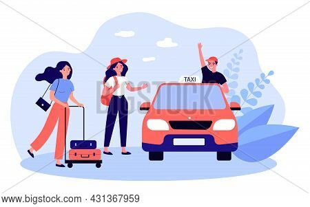 Cartoon Taxi Driver Greeting Female Passengers. Women With Luggage Getting Into Cab Flat Vector Illu