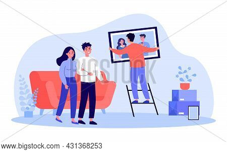 Young Man Hanging Family Portrait On Wall. Flat Vector Illustration. Couple Watching Man Helping By