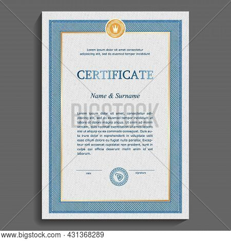 Clean, Graphic Certificate Or Diploma Template. Blue And Gold Vertical Frame On A Gray Grid Backgrou