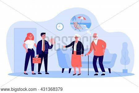 Children Informing Elderly Parents About Vacation Trip. Flat Vector Illustration. Young Family Coupl