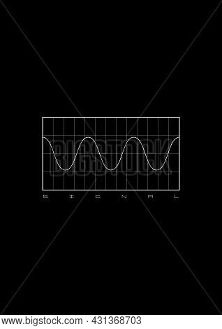Sinusoid T-shirt And Apparel Design With A Diagram With The Sinusoid Signal On Grid Background And T