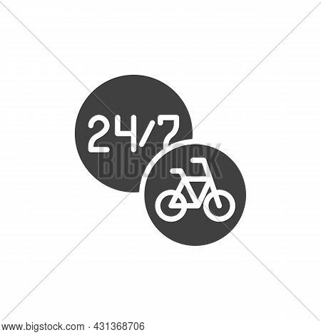 24-hour Bike Sharing Service Vector Icon. Filled Flat Sign For Mobile Concept And Web Design. Bicycl