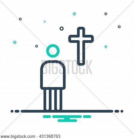 Mix Icon For Devote Prayer Religion Miracle Christian Church Mythology Belief Ritual Venerated