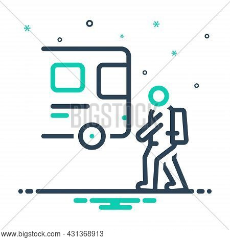 Mix Icon For Student-coming Student Coming Back-to-home Bus Schoolbus Transport Passenger Public Tra