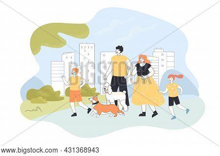 Family On Walk In Modern City Park Flat Vector Illustration. Happy Parents, Mom, Dad, Children, Son,
