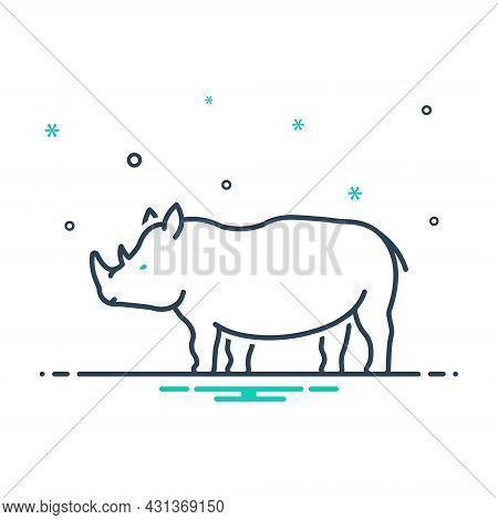 Mix Icon For Rhinoceros-saurus Endangered Dangerous Herbivores Nature Animal Jungle Wildlife Zoo